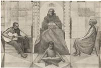 untitled (study for mary mcleod bethune mural) by charles wilbert white
