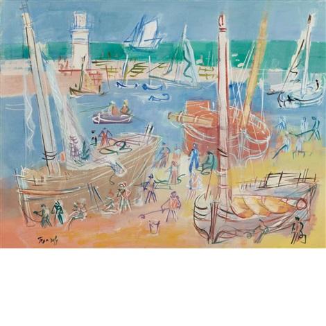 carenages des bateaux dans le port de lile dyeu by jean dufy