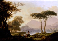 morning and evening: a classical landscape with shepherds, an acquaduct beyond (+ a classical landscape with shepherds and nymphs by a lake, a hilltop castle beyond; pair) by pierre péquignot