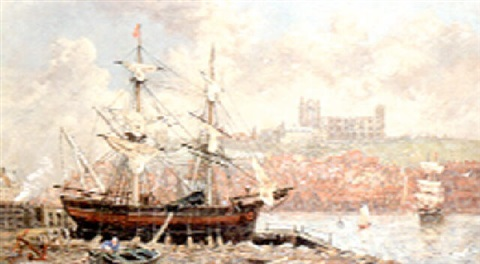 a beached brig with whitby beyond by richard weatherill