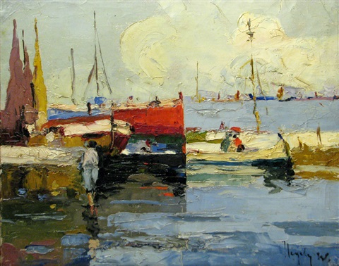 boats in the harbour by rudolph negely