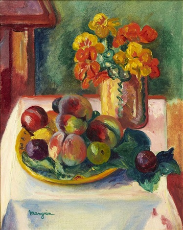 nature morte aux pêches et au bouquet de capucines by henri charles manguin