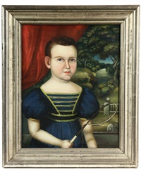 portrait of a young boy with a whip (william gould?) by joseph whiting stock