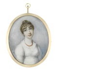 lady mary henrietta juliana pelham née osborne, countess of chichester (1776-1862), wearing white dress with frilled collar, coral beaded necklace, her brown hair upswept by richard cosway