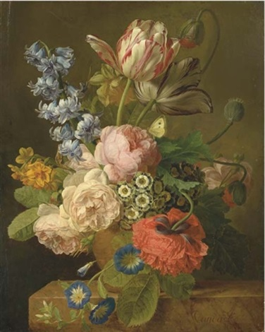 bouquet de roses, jacinthes, narcisses, auriculas, jonquilles, tulipes et pavots dans un vase sur un entablement by jan frans van dael