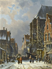 a busy street in winter by adrianus eversen