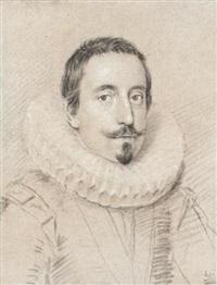 portrait of a man, wearing a ruff by ottavio maria leoni