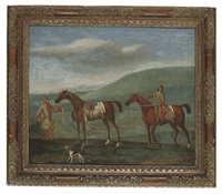 two royal mares, one held by its rider, the other with jockey up, a racecourse beyond by peter tillemans