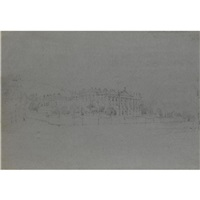 view of chatsworth from the east (+ view from the west, derbyshire; pair) by thomas allom