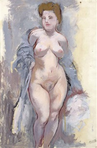 standing nude (recto); a sketch of a standing nude (verso) by george grosz