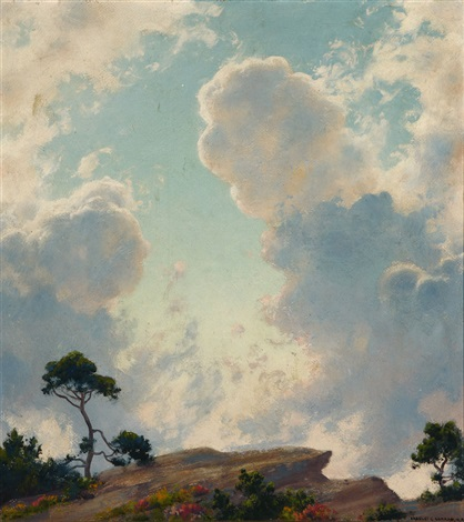 lake maratanza, morning clouds, ulster county, ny atmospheric landscape by charles courtney curran
