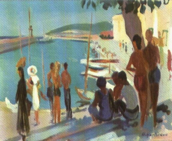 südlicher bootshafen mit figuren by werner hartmann