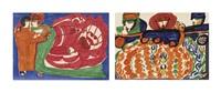 los von zwei werken: l'auto en couronne, um 1963-64 ballet de vienne, um 1963-64 (2 works) by aloise