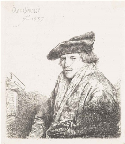 a young man in a velvet cap by rembrandt van rijn