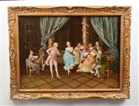interior scene, minuet by gustave claude etienne courtois