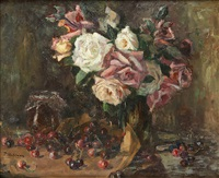 vase fleuri de roses et cerises by frans mortelmans