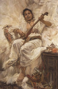 an oriental woman playing the mandolin by jean c. ubaghs