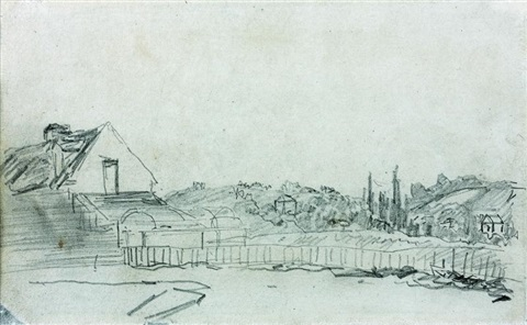 vue prise du château de lépinay double sided by johan barthold jongkind