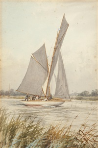 yachting beside st. benet's abbey; yacht at thurne mouth; wherries at dusk (3 works, 1 lrgr) by stephen john batchelder