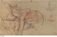 a horse and rider, with two subsidiary studies of the stirrup (recto); studies of a hand and outstretched arm (verso) by charles parrocel