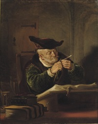 a scholar sharpening his quill by salomon koninck