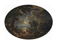 a moonlit river landscape with shepherds by a the river bank by pieter mulier the elder