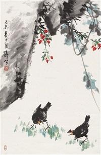 春日鸣禽 立轴 设色纸本 ( bird) by wang xuetao