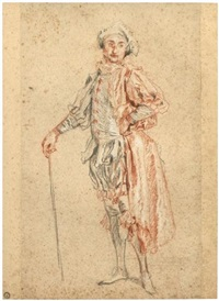study of a standing actor, in the costume of mezzetin by jean antoine watteau
