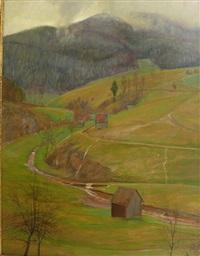 herbstlandschaft mit flusslauf. wohl schwarzwald by ferdinand otto leiber