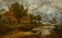 cutter in a creek of the river elbe by wilhelm ferdinand xylander