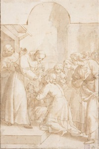 st. francis curing a blind woman by domenico peruzzini