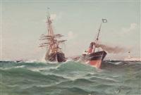 voilier remorqué à l'entrée du port de marseille by alfred godchaux