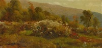fall flowers on a hillside by jervis mcentee