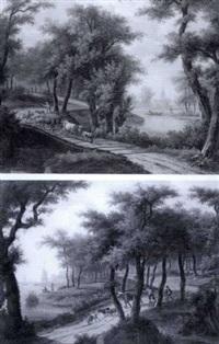 paysans et troupeaux au bord d'une rivière by swagers