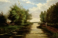 view on a landscape with a river by adrianus van everdingen