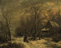 figures on a snowy path by hendrik barend koekkoek