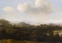 paesaggio boschivo con viandanti e borgo in lontananza by frans jansz post