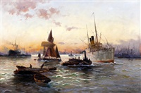 shipping on the thames by edward henry eugene fletcher