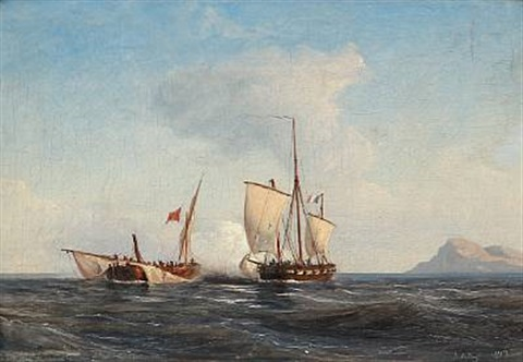 two sailing ships fighting against each other by daniel hermann anton melbye