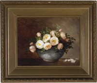 blush roses in a bowl by anna eliza hardy
