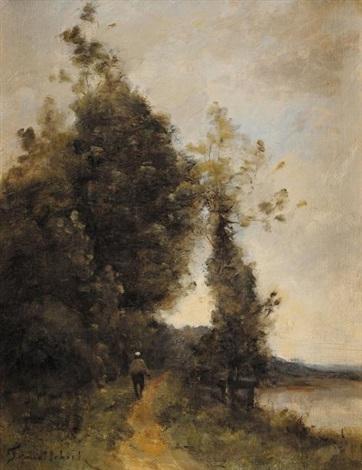promeneur en bord de rivière by paul désiré trouillebert