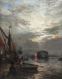 the dreadnought from greenwich stairs - sun sinking into vapour by samuel bough