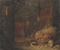 a barn interior with copper pots, wooden barrels and a cat drinking milk nearby by dirck wyntrack