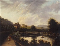 a view of royal crescent, bath, a couple walking in the foreground by edmund garvey