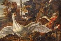 chien attaquant une oie et des poules by david de coninck