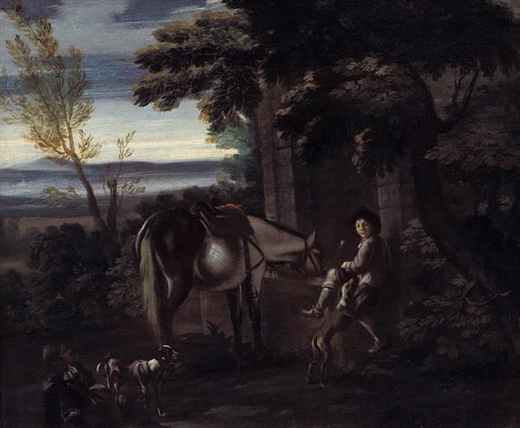 sosta di cacciatori con cani e cavallo by pieter van bloemen