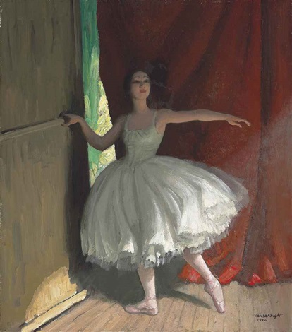awaiting her turn (ready for her act) by dame laura knight