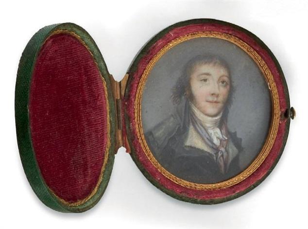 portrait dun conventionnel en redingote grise un foulard bleu et rouge autour du cou by thouesny