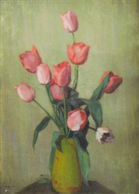 vase with tulips by constantin artachino