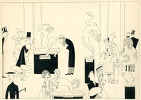 assorted characters at art opening (illus. for vanity fair) by anne hariet (sefton) fish